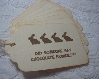 Handmade Easter Gift Tags - Bunnies in a Row - Did Someone Say Chocolate Bunnies