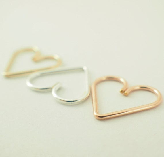 1 Heart - Argentium Silver, Rose Gold Filled, or Yellow Gold Filled - Hypo Allergenic - Heart Piercing - YOU PICK Metal and Gauge