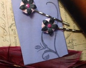 Polly pink and black retro lucite bobby  pins