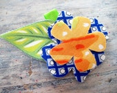 flower barrette - sorbet, organge, royal blue, green