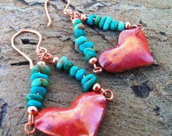 Copper Heart Earrings - Turquoise Earrings - Cowgirl Jewelry - Rustic Jewelry - Cowgirl Earrings