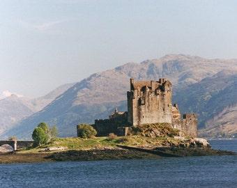 Scotland Photography, Eilean Donan Castle, Landscape Print, Fine Art, 5 x 7 Photo, Wall Decor, Office Photo, Highland Castle