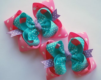 boutique set of 2 PINK and PURPLE and TURQUOISE hair bow clips