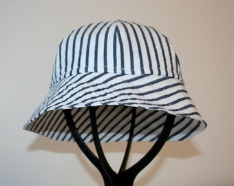OOAK Toddler Sun Hat Recycled Navy Blue and White Striped Cotton Age 3 to 5 years