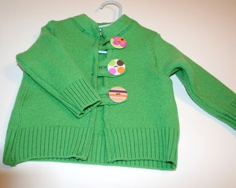 ON SALE Children's Recycled Felted Wool Sweater Lime Green Size 18 to 24 Months