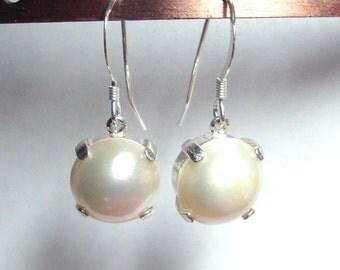 11mm Mabe Pearl french hook dangle earrings