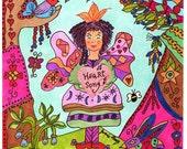 "Fairy Whimsical Folk Art Print ""Heart Song"", Fantasy, Fairytale, Enchanted, Vibrant, Colorful. Flowers, Retro, Butterfly, Bird"