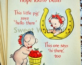 GET WELL Pig Greeting Card, Vintage, UNUSED, 1940's, Free Domestic Shipping
