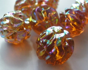 Vintage Glass Beads (3) German Dark Topaz AB Focal Beads
