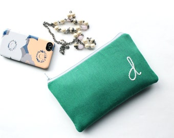 Monogram Clutch, Personalized Gift for Mothers, Present for Her, Initial Bag in Emerald and White or Custom Colors