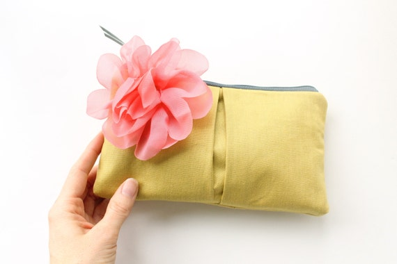 RESERVED - Clutch Purse, Yellow Gold and Coral, Personalized Bridesmaid Clutch, Wedding Clutch, Choose Colors, Grey, Aqua, Navy