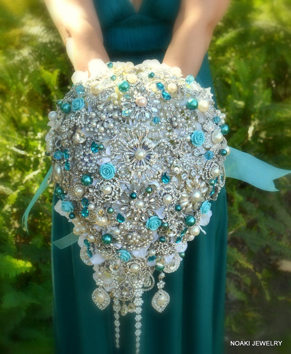 Wedding Brooch Bouquet Nz : Deposit on cascading teal and tiffany pearl brooch bouquet