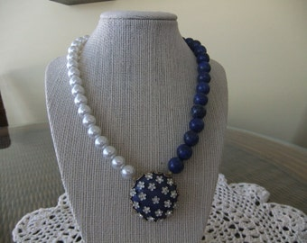 Pearl and Lapis Necklace with Vintage Blue Rhinestone Earring in Center