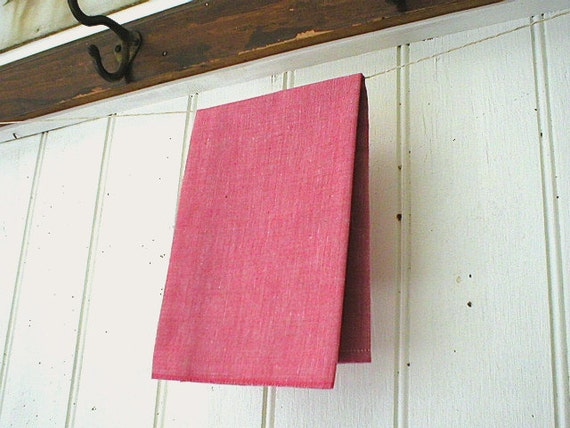 Vintage selvedge chambray pocket square handkerchief, red - eco vintage fabric