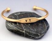Personalized Bracelet - Personalized ID Cuff Bracelet -  Gold Brass