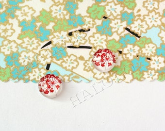 Sale - 10pcs handmade small red flowers parsley clear glass dome cabochons 12mm (12-0317)