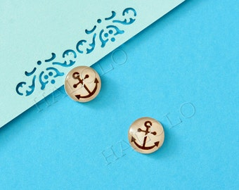 Sale - 10 pcs handmade brown anchor  glass cabochons 12mm (12-0817)