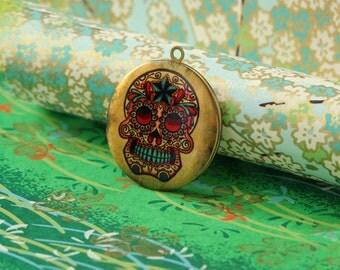 1pc handmade skull round antique brass locket 32mm (LD027)