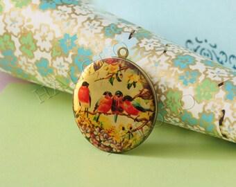 1pc handmade four red birds round antique bronze locket 32mm (LD050)