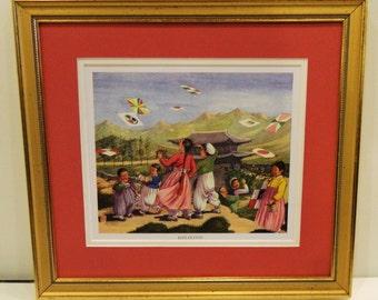 """Korean Print """" KITE FLYING"""" Framed  // Ships Free //"""