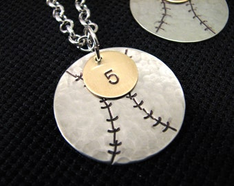 Sterling Silver Baseball Mom Necklace - Free Shipping Until August 31st