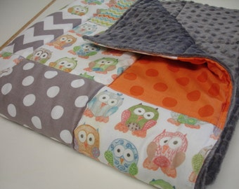 Short Legged Owls with Chevron and Polkas Baby Minky Blanket  MADE TO ORDER No Batting