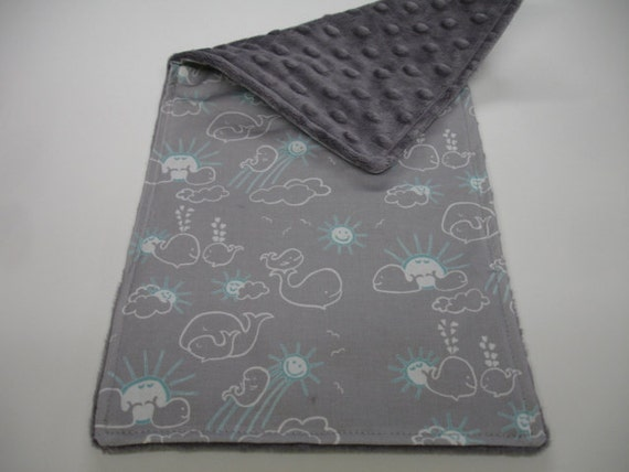 You Are My Sunshine Whales in Grey and Aqua Baby Burp Cloth