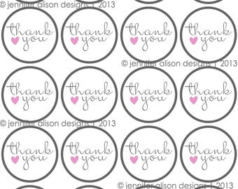 "Thank you Heart 2"" PERSONALIZED printable Party Circles / Cupcake Topper / Stickers / Thank You Tags"