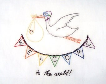 Welcome to the World New Baby Hand Embroidery PDF Pattern with Stork & Bunting