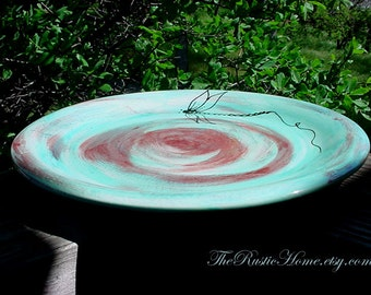 Pottery bird bath water dish dragonfly pottery plate birdbath rustic garden decor made to order choose colors ceramic pottery bird feeder