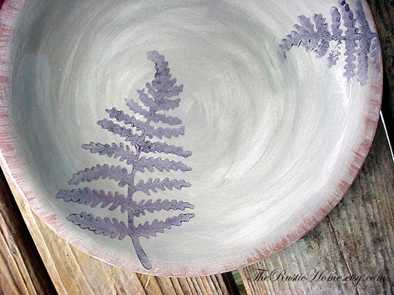 Rustic fern pottery dinner plate grey and plum or choose your colors