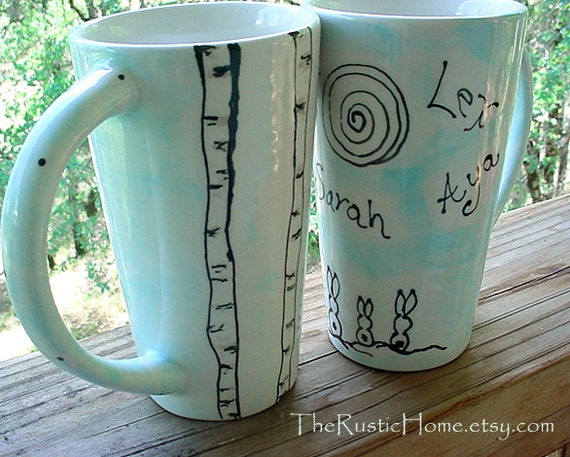 Birch tree bunnies custom family mug personalized if desired rabbit pottery tall coffee mug tea latte