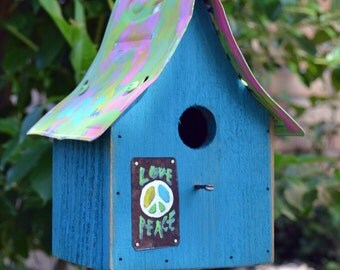 Hippie Birdhouse Peace Birdhouse Rustic Birdhouse
