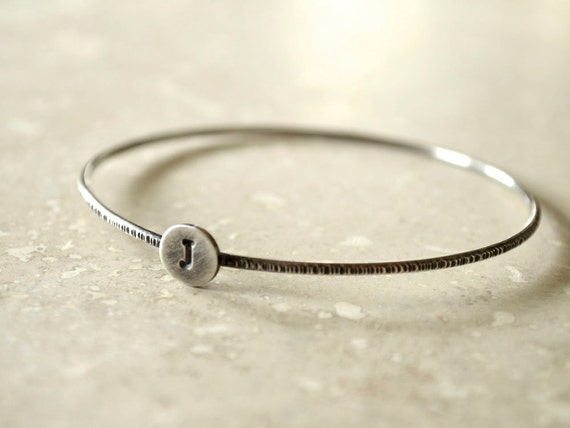 Initial Bangle - Sterling Silver