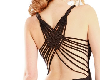 Unique black open back top with an intricate back detail LAST ONE
