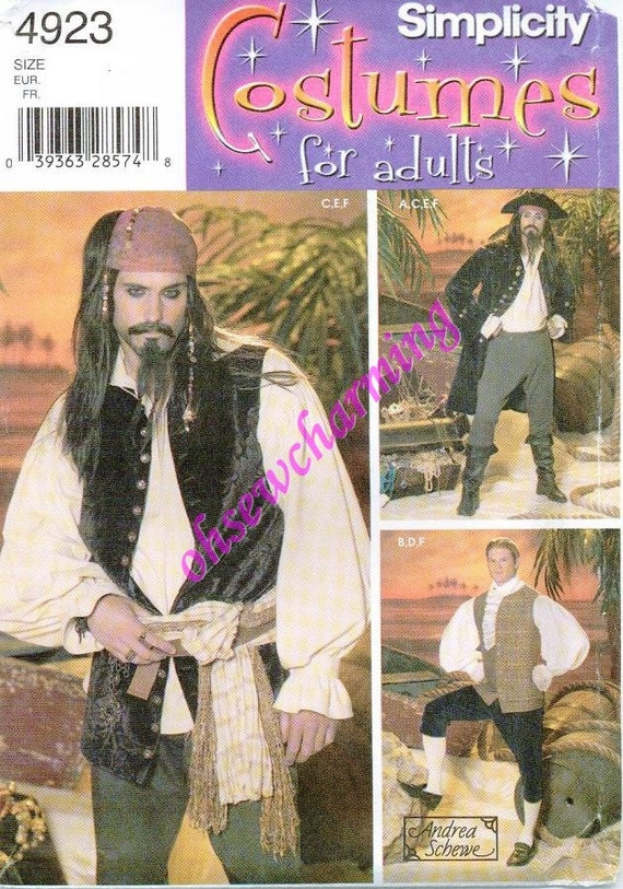 Simplicity 4923 Jack Sparrow Pirate Costume Sewing Pattern Sizes L-XL