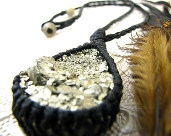 Pyrite Macrame Necklace - Pyrite Jewelry - Gold / Glitter / Sparkle / Raw / Rough / Bold / Gemstone Jewelry / Healing crystals and stones