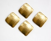 1 Hole Raw Brass Wavy Hammered Square Pendant Charm Drop (4) mtl378