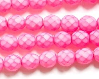 Czech Faceted Matte Dark Rose Pink Coated Glass Beads 8mm (25) czh002G