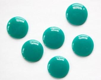 Vintage Teal Acrylic Circle Charms Drops (6) pnd161E