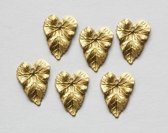 Raw Brass Dapped Textured Leaf Charm mtl193