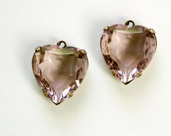Light Amethyst Glass Heart Pendants 1 Loop Brass Ox Setting 15mm hrt006K