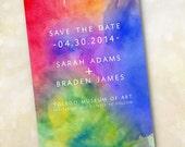 Wedding Invitation or Save the Date Design Fee (Modern Vibrant Watercolor Design)