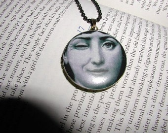Here's Looking at You Locket Necklace, Picture Locket,  Fornasetti Face