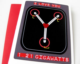 Back to the Future Valentine // Flux Capacitor // I Love You // 80s Geek Love Card