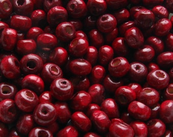 4mm Dark Red Wooden Beads - Over 200 - TINY - Glossy Dark Red / Cranberry Colored Wood Beads, Lead Free (WBD0019)