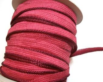 Burgundy Cord, Light Burgundy Braided Lip Cord Trim 3/16 inch wide x 3 yards, Cord with Lip