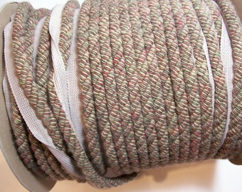 Beige Lip Cord, Beige Variegated Braided Lip Cord Trim 1 inch wide x 3 yards, cord is 1/2 inch,