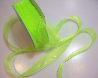 Green Ribbon, Neon Green Organza Ribbon 1 1/2 inches wide x 10 yards, Offray Simply Sheer Asiana, Green Ribbon