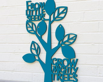 Nursery Room Sign, From Little Seeds Grow Mighty Trees, Teachers Classroom Sign, Kids Wood Saying Sign, Wood Meme Sign, Funky Wood Sign